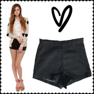 Black side zip hot pants